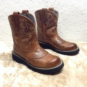 Ariat fatbaby saddle western cowgirl boots 7